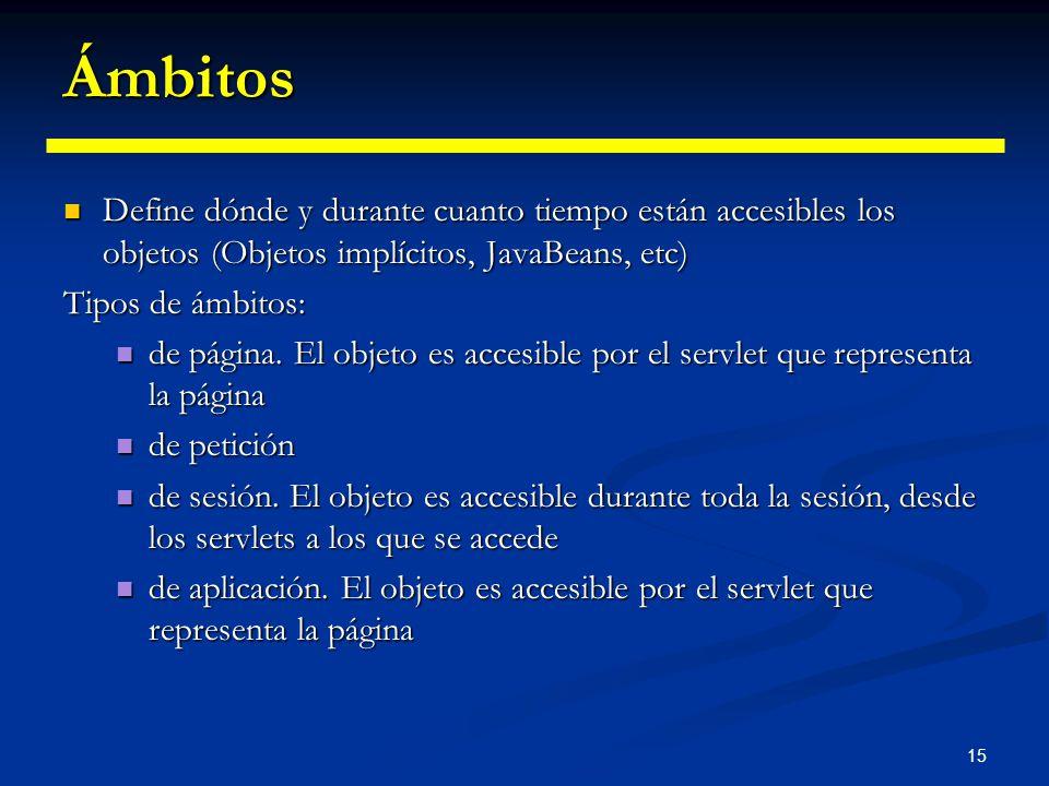 15 Ámbitos Define dónde y durante cuanto tiempo están accesibles los objetos (Objetos implícitos, JavaBeans, etc) Define dónde y durante cuanto tiempo