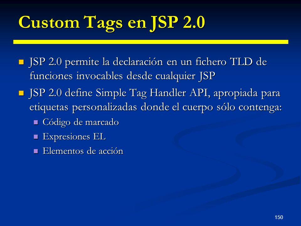150 Custom Tags en JSP 2.0 JSP 2.0 permite la declaración en un fichero TLD de funciones invocables desde cualquier JSP JSP 2.0 permite la declaración