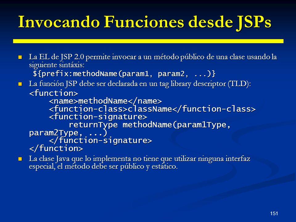 151 Invocando Funciones desde JSPs La EL de JSP 2.0 permite invocar a un método público de una clase usando la siguiente sintáxis: La EL de JSP 2.0 pe