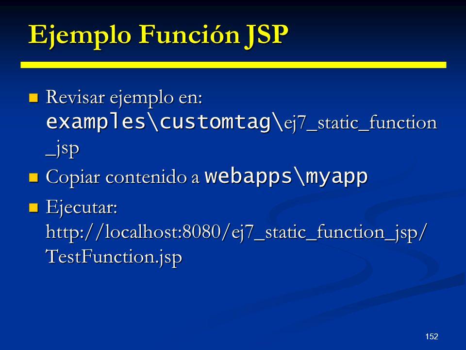 152 Ejemplo Función JSP Revisar ejemplo en: examples\customtag\ ej7_static_function _jsp Revisar ejemplo en: examples\customtag\ ej7_static_function _
