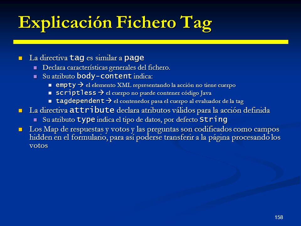 158 Explicación Fichero Tag La directiva tag es similar a page La directiva tag es similar a page Declara características generales del fichero. Decla