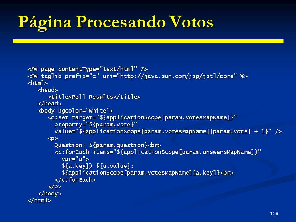 159 Página Procesando Votos <html> Poll Results Poll Results <c:set target=