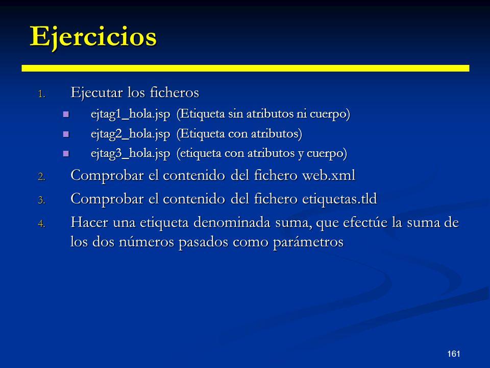 161 Ejercicios 1. Ejecutar los ficheros ejtag1_hola.jsp (Etiqueta sin atributos ni cuerpo) ejtag1_hola.jsp (Etiqueta sin atributos ni cuerpo) ejtag2_h