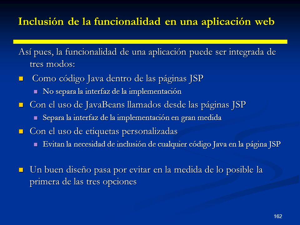 162 Inclusión de la funcionalidad en una aplicación web Así pues, la funcionalidad de una aplicación puede ser integrada de tres modos: Como código Ja