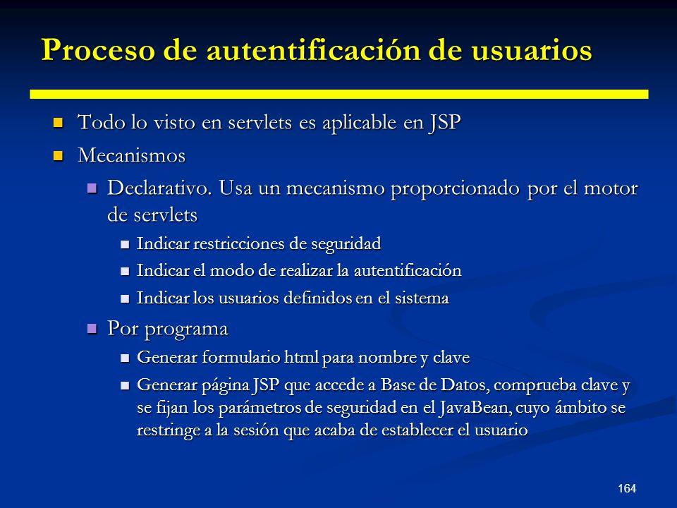 164 Proceso de autentificación de usuarios Todo lo visto en servlets es aplicable en JSP Todo lo visto en servlets es aplicable en JSP Mecanismos Meca