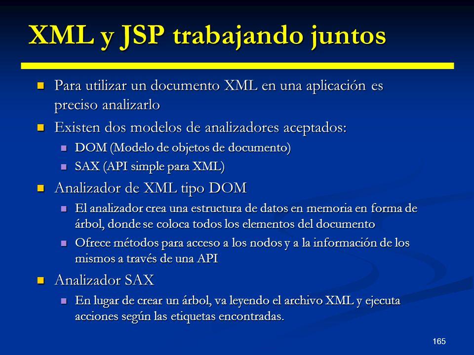165 XML y JSP trabajando juntos Para utilizar un documento XML en una aplicación es preciso analizarlo Para utilizar un documento XML en una aplicació