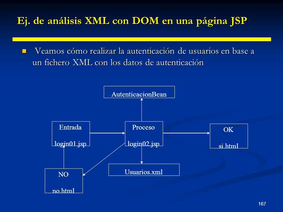 167 Ej. de análisis XML con DOM en una página JSP Veamos cómo realizar la autenticación de usuarios en base a un fichero XML con los datos de autentic