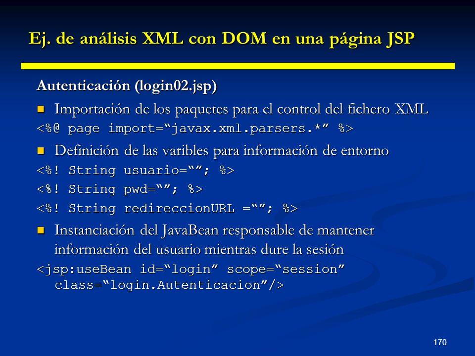 170 Ej. de análisis XML con DOM en una página JSP Autenticación (login02.jsp) Importación de los paquetes para el control del fichero XML Importación