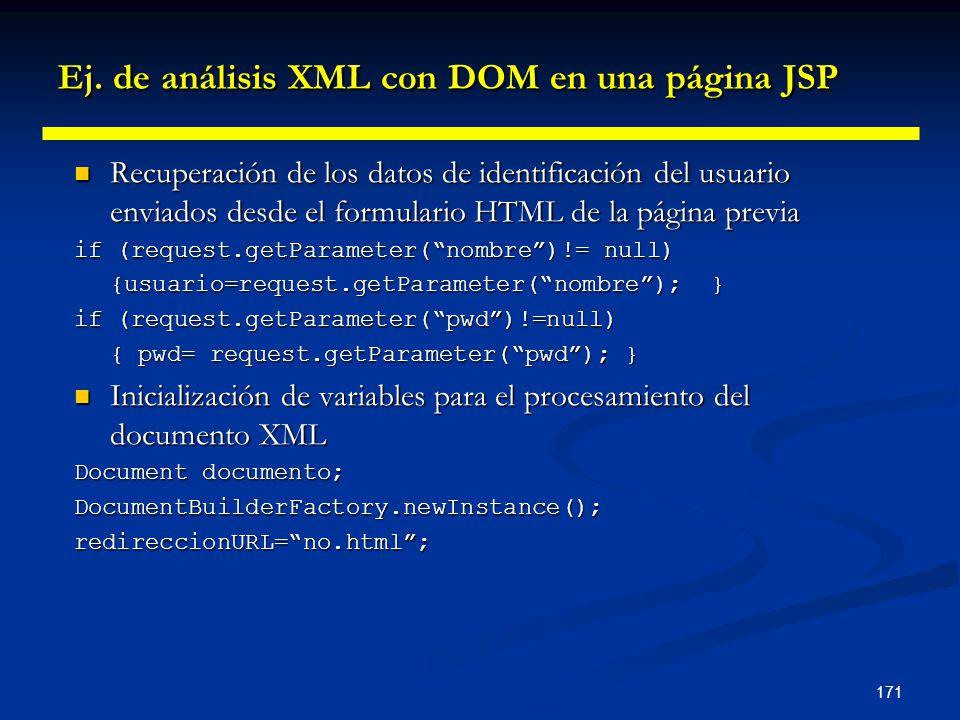171 Ej. de análisis XML con DOM en una página JSP Recuperación de los datos de identificación del usuario enviados desde el formulario HTML de la pági