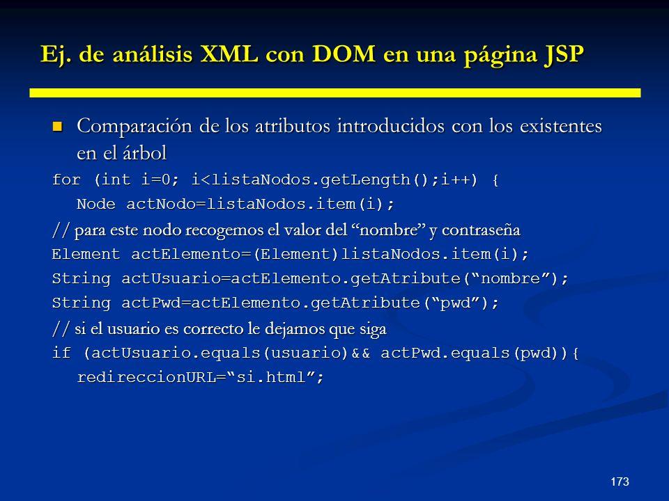 173 Ej. de análisis XML con DOM en una página JSP Comparación de los atributos introducidos con los existentes en el árbol Comparación de los atributo