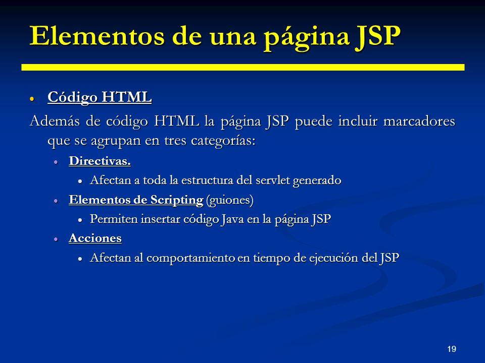 19 Elementos de una página JSP Código HTML Código HTML Además de código HTML la página JSP puede incluir marcadores que se agrupan en tres categorías: