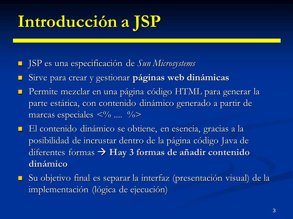 3 Introducción a JSP JSP es una especificación de Sun Microsystems JSP es una especificación de Sun Microsystems Sirve para crear y gestionar páginas