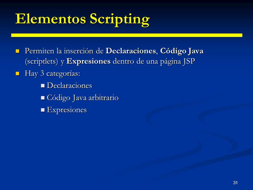 31 Elementos Scripting Permiten la inserción de Declaraciones, Código Java (scriptlets) y Expresiones dentro de una página JSP Permiten la inserción d