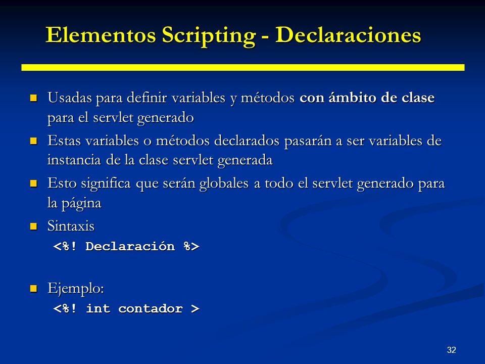 32 Usadas para definir variables y métodos con ámbito de clase para el servlet generado Usadas para definir variables y métodos con ámbito de clase pa