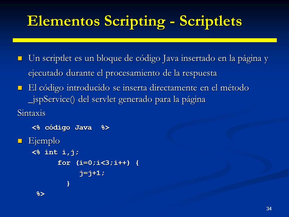 34 Un scriptlet es un bloque de código Java insertado en la página y ejecutado durante el procesamiento de la respuesta Un scriptlet es un bloque de c