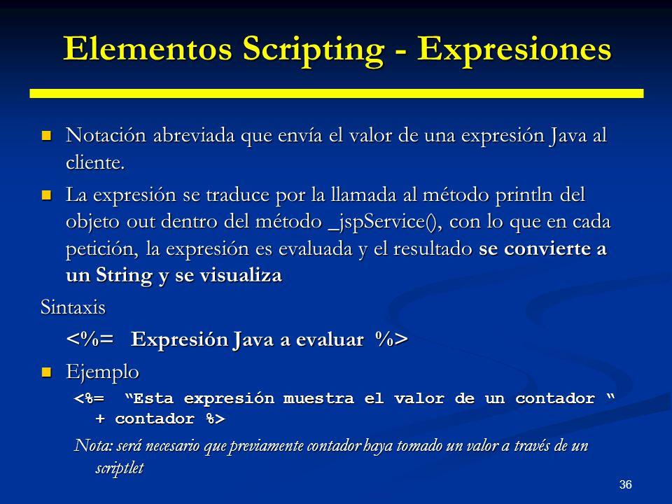 36 Notación abreviada que envía el valor de una expresión Java al cliente. Notación abreviada que envía el valor de una expresión Java al cliente. La
