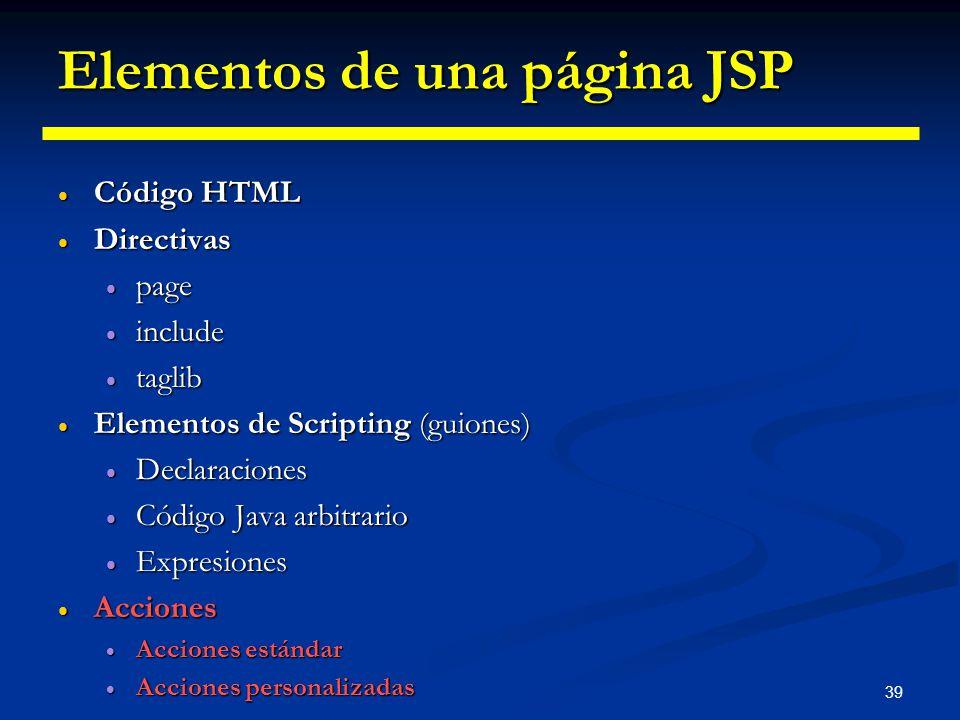 39 Elementos de una página JSP Código HTML Código HTML Directivas Directivas page page include include taglib taglib Elementos de Scripting (guiones)