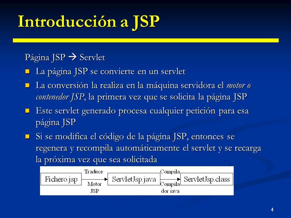 4 Introducción a JSP Página JSP Servlet La página JSP se convierte en un servlet La página JSP se convierte en un servlet La conversión la realiza en