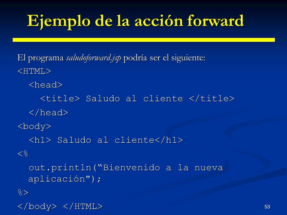 53 El programa saludoforward.jsp podría ser el siguiente: <HTML> Saludo al cliente Saludo al cliente <body> Saludo al cliente Saludo al cliente <% out