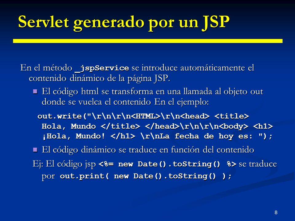 8 Servlet generado por un JSP En el método _jspService se introduce automáticamente el contenido dinámico de la página JSP. En el método _jspService s