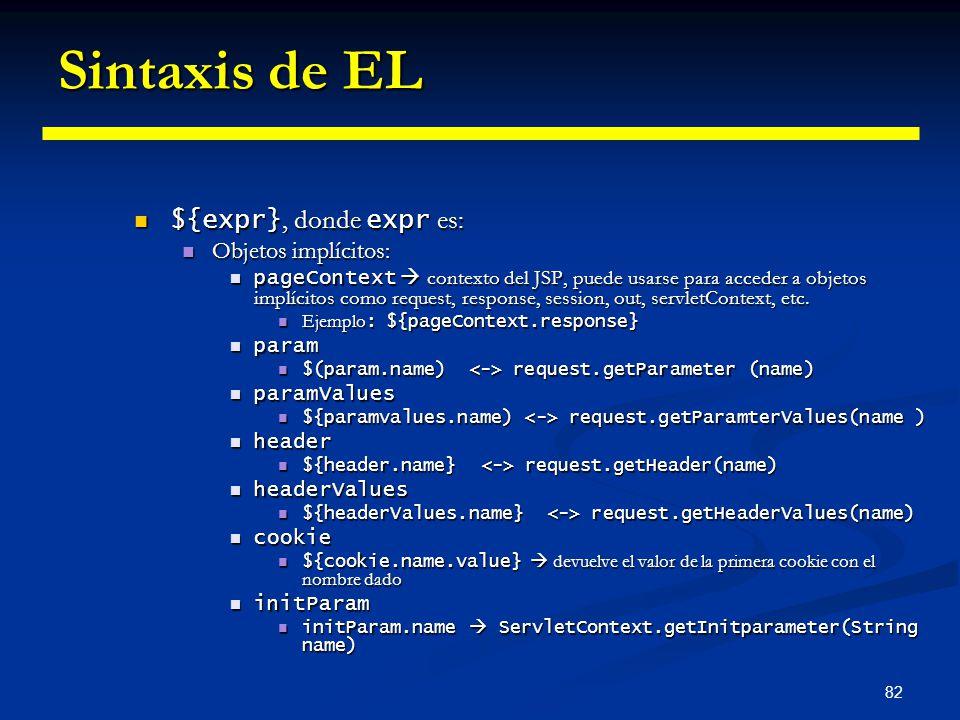 82 Sintaxis de EL ${expr}, donde expr es: ${expr}, donde expr es: Objetos implícitos: Objetos implícitos: pageContext contexto del JSP, puede usarse p