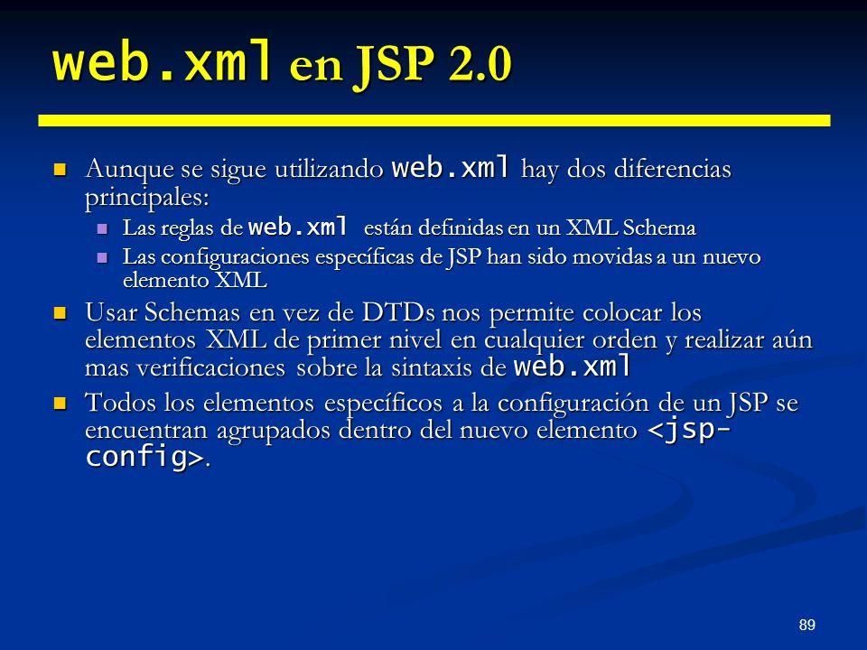 89 web.xml en JSP 2.0 Aunque se sigue utilizando web.xml hay dos diferencias principales: Aunque se sigue utilizando web.xml hay dos diferencias princ