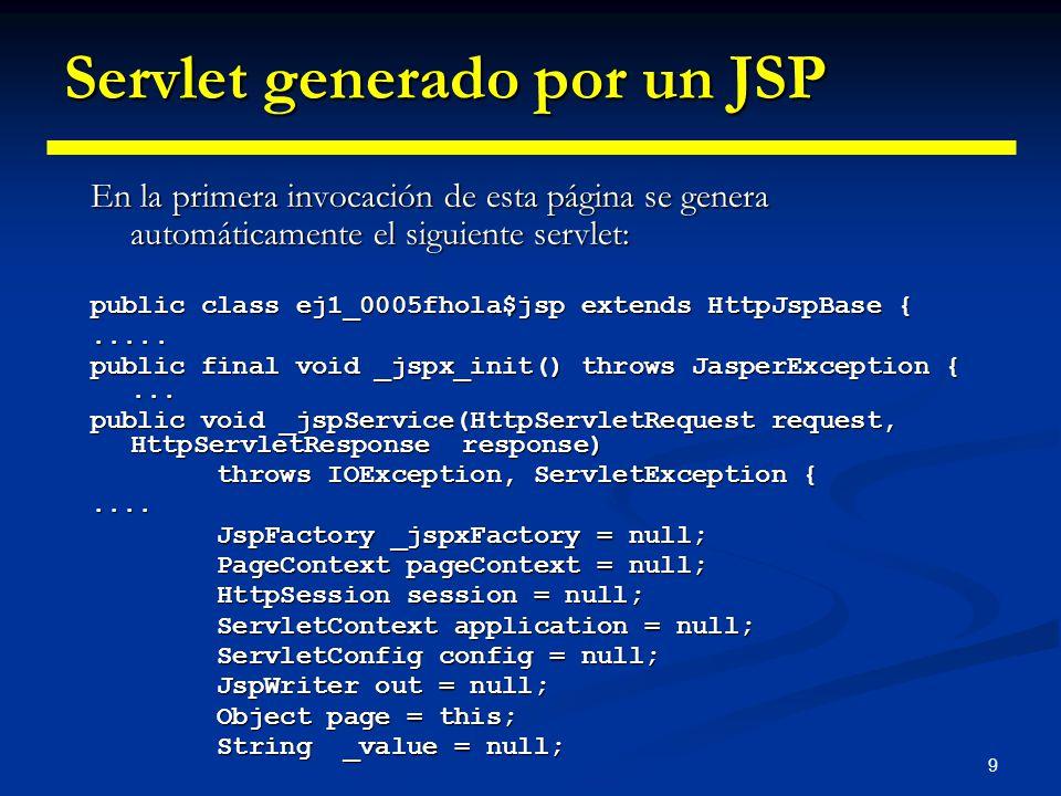 9 Servlet generado por un JSP En la primera invocación de esta página se genera automáticamente el siguiente servlet: public class ej1_0005fhola$jsp e