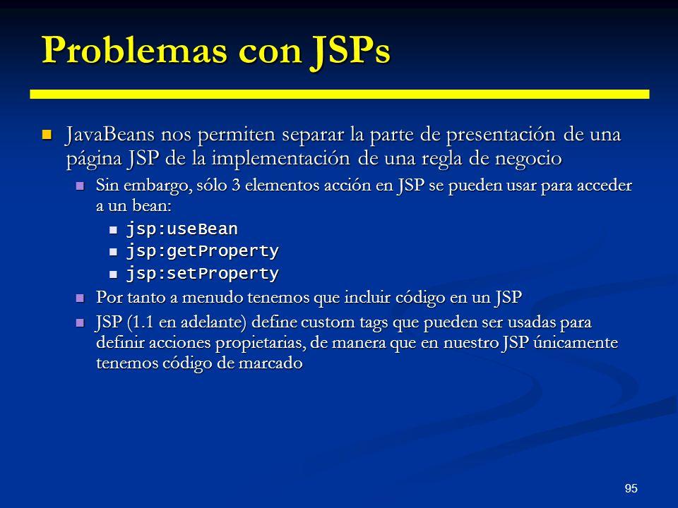 95 Problemas con JSPs JavaBeans nos permiten separar la parte de presentación de una página JSP de la implementación de una regla de negocio JavaBeans