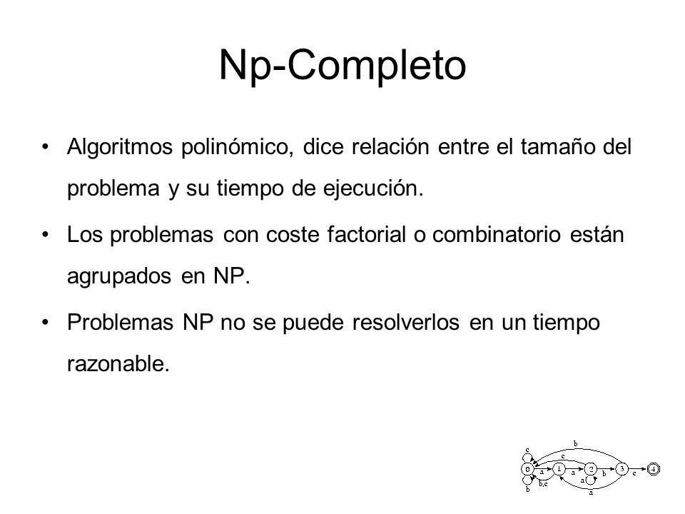 Np-Completo Algoritmos polinómico, dice relación entre el tamaño del problema y su tiempo de ejecución.