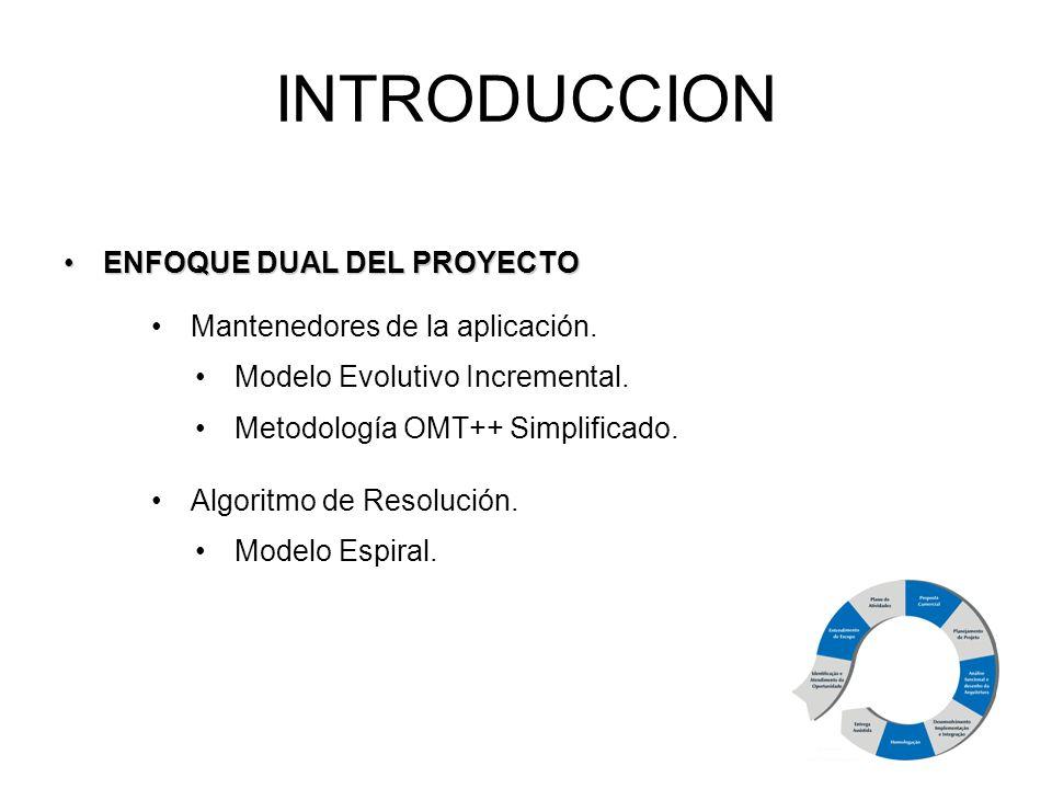 ENFOQUE DUAL DEL PROYECTOENFOQUE DUAL DEL PROYECTO INTRODUCCION Mantenedores de la aplicación. Modelo Evolutivo Incremental. Metodología OMT++ Simplif