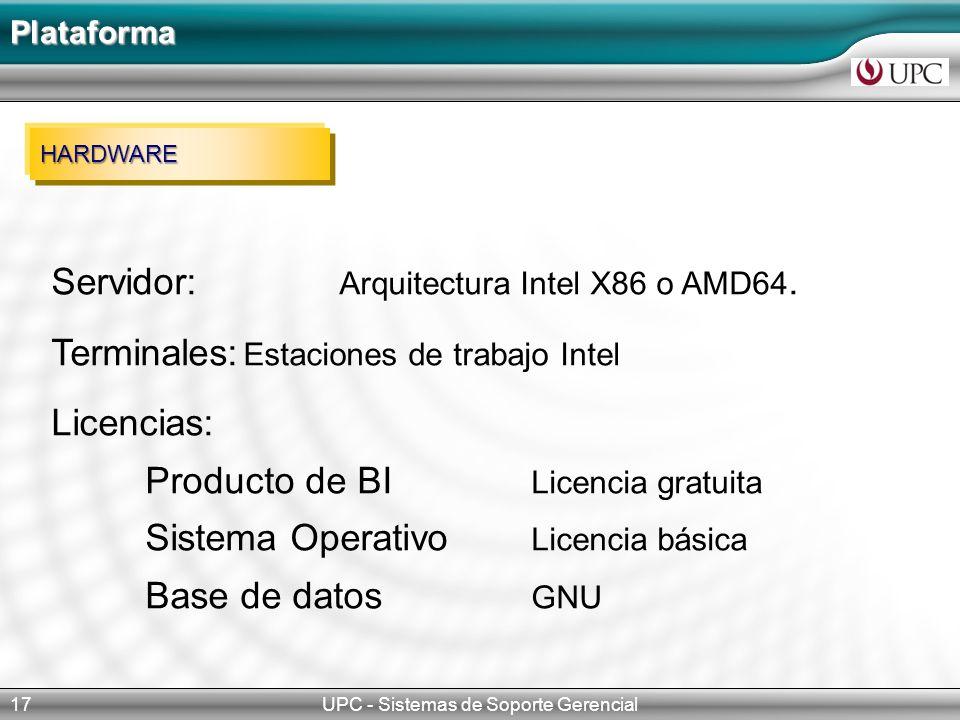UPC - Sistemas de Soporte Gerencial17 Plataforma HARDWARE Servidor: Arquitectura Intel X86 o AMD64.