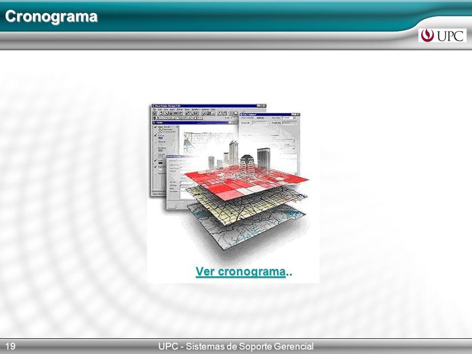 UPC - Sistemas de Soporte Gerencial19 Cronograma Ver cronogramaVer cronograma.. Ver cronograma