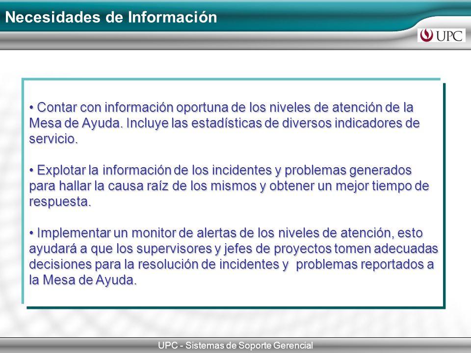Necesidades de Información UPC - Sistemas de Soporte Gerencial Contar con información oportuna de los niveles de atención de la Mesa de Ayuda.