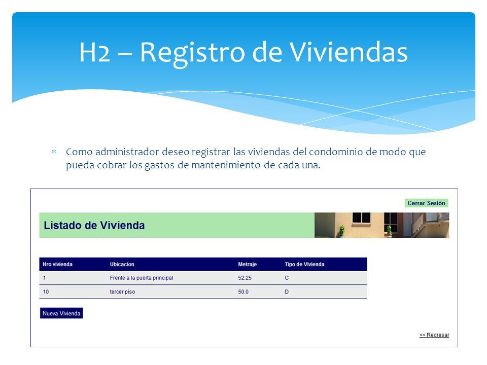 Como administrador deseo registrar las viviendas del condominio de modo que pueda cobrar los gastos de mantenimiento de cada una. H2 – Registro de Viv