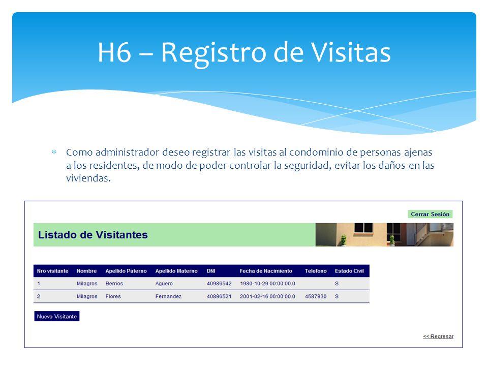 Como administrador deseo registrar las visitas al condominio de personas ajenas a los residentes, de modo de poder controlar la seguridad, evitar los daños en las viviendas.