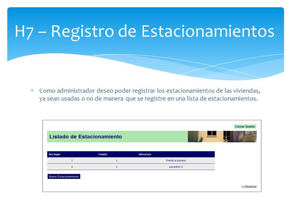 Como administrador deseo poder registrar los estacionamientos de las viviendas, ya sean usadas o no de manera que se registre en una lista de estacion