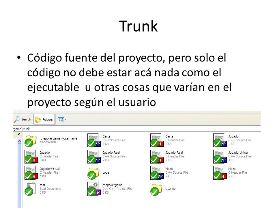 Trunk Código fuente del proyecto, pero solo el código no debe estar acá nada como el ejecutable u otras cosas que varían en el proyecto según el usuar