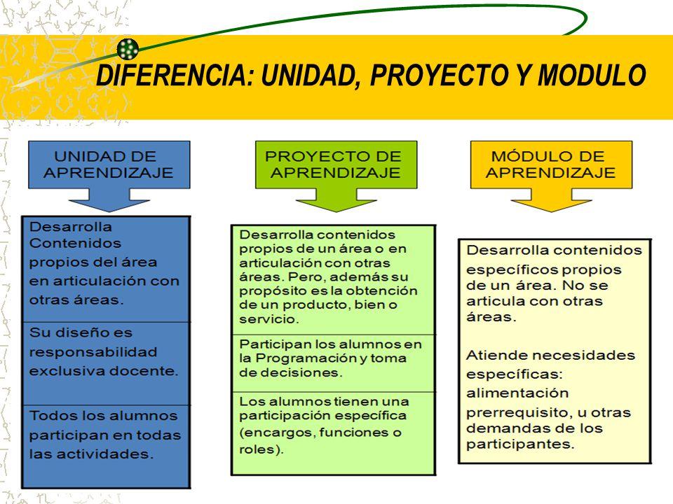 DIFERENCIA: UNIDAD, PROYECTO Y MODULO