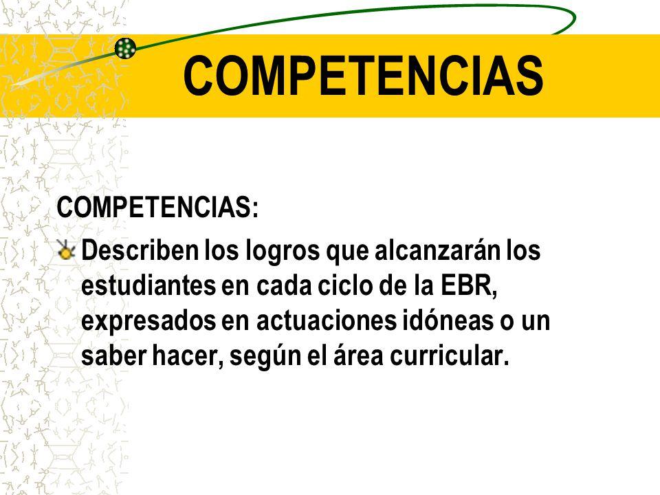 COMPETENCIAS: Describen los logros que alcanzarán los estudiantes en cada ciclo de la EBR, expresados en actuaciones idóneas o un saber hacer, según el área curricular.