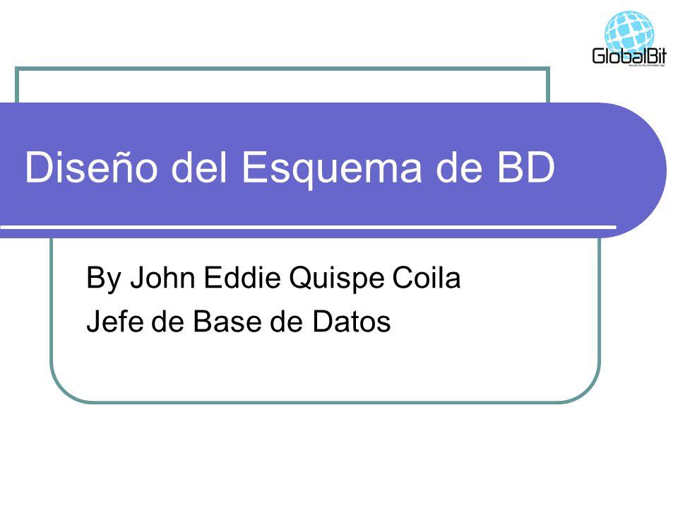 Diseño del Esquema de BD By John Eddie Quispe Coila Jefe de Base de Datos