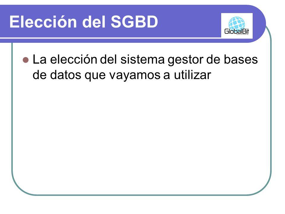 Elección del SGBD La elección del sistema gestor de bases de datos que vayamos a utilizar