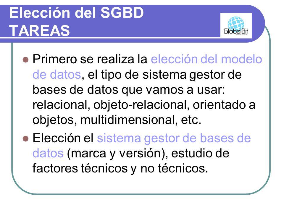 Elección del SGBD TAREAS Primero se realiza la elección del modelo de datos, el tipo de sistema gestor de bases de datos que vamos a usar: relacional,