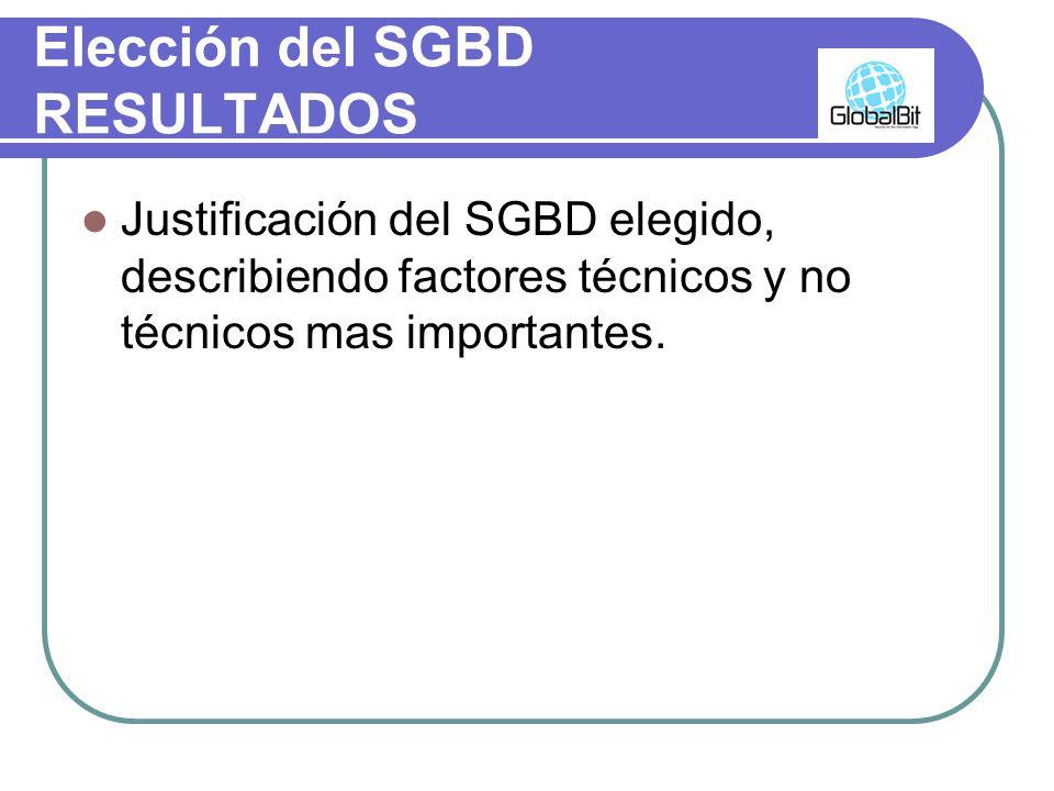 Elección del SGBD RESULTADOS Justificación del SGBD elegido, describiendo factores técnicos y no técnicos mas importantes.