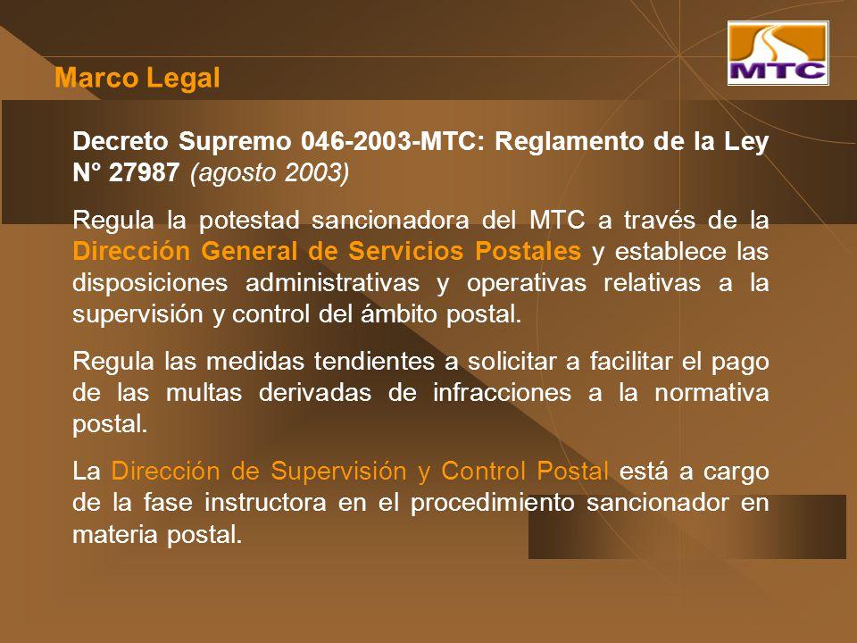 Marco Legal Decreto Supremo 046-2003-MTC: Reglamento de la Ley N° 27987 (agosto 2003) Regula la potestad sancionadora del MTC a través de la Dirección