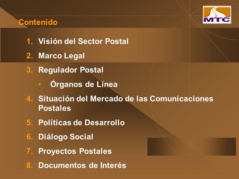 Contenido 1.Visión del Sector Postal 2.Marco Legal 3.Regulador Postal Órganos de Línea 4.Situación del Mercado de las Comunicaciones Postales 5.Políti