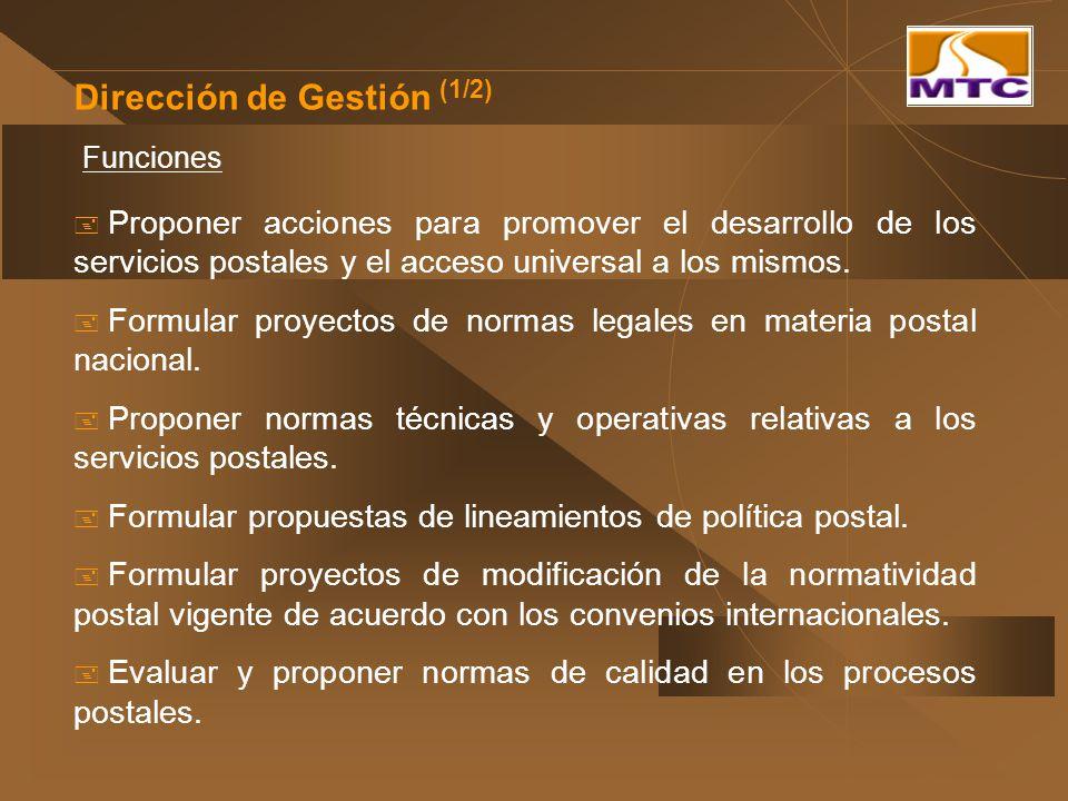 Dirección de Gestión (1/2) Funciones Proponer acciones para promover el desarrollo de los servicios postales y el acceso universal a los mismos. Formu