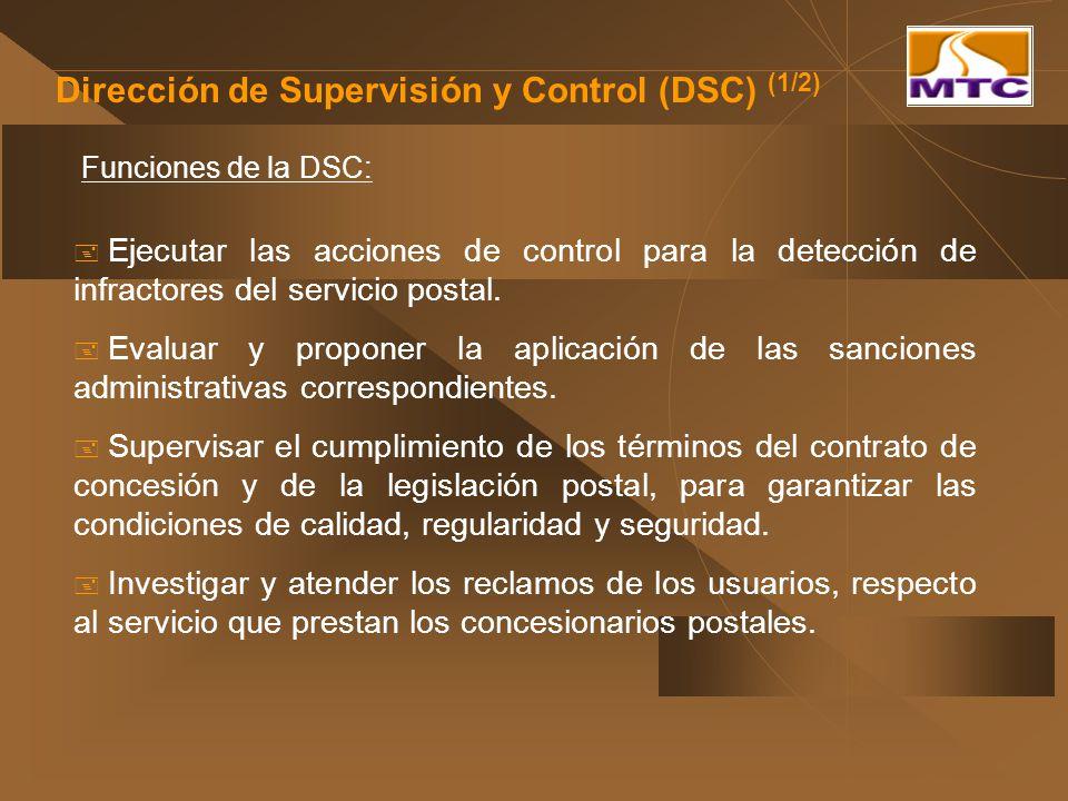 Dirección de Supervisión y Control (DSC) (1/2) Funciones de la DSC: Ejecutar las acciones de control para la detección de infractores del servicio pos