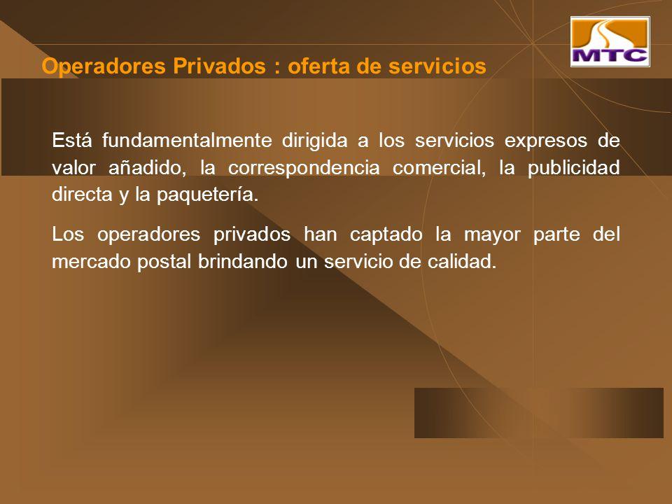Operadores Privados : oferta de servicios Está fundamentalmente dirigida a los servicios expresos de valor añadido, la correspondencia comercial, la p