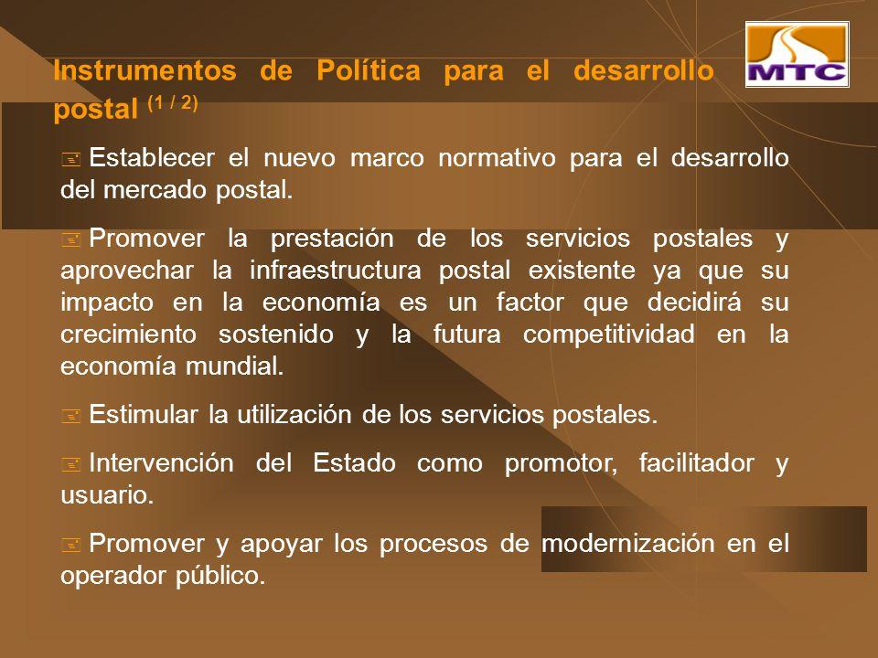 Instrumentos de Política para el desarrollo postal (1 / 2) Establecer el nuevo marco normativo para el desarrollo del mercado postal. Promover la pres