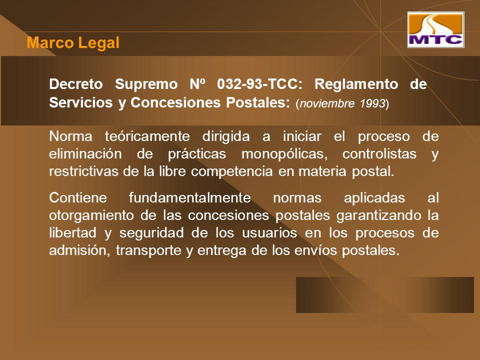 Decreto Supremo Nº 032-93-TCC: Reglamento de Servicios y Concesiones Postales: (noviembre 1993) Norma teóricamente dirigida a iniciar el proceso de el